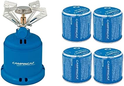 ALTIGASI Hornillo de Gas para Camping 206 S Stove Campinga. Potencia 1,230 W. Peso 280 Gramos + 4 Cartuchos C206 GLS de 190 Gramos.