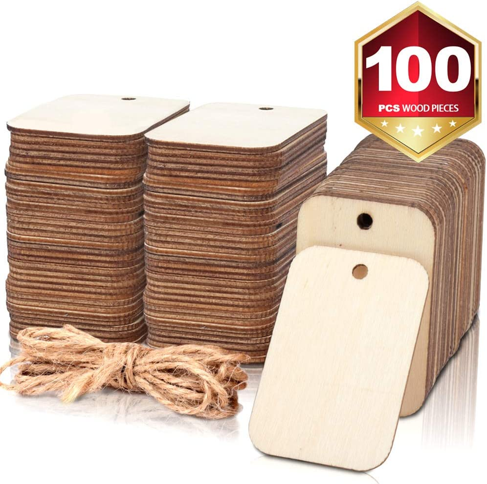 100 Pcs Unfinished Holz Pieces Rectangle-Shaped, Licht Wooden Cutout Natural Rustic mit Hole, und 2M Hemp Rope, für Craft Projects, Hanging Decorations, Painting, Staining (2 X 1.3 )