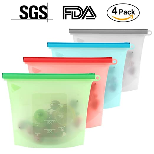 Bolsa de silicona de 1000 ml, reutilizable, hermética ...