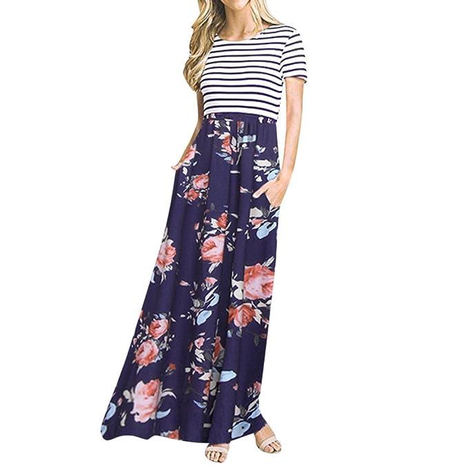 Kleid Damen Rovinci Elegant Sommerkleider Floral Print Kurzarm Lange  Strandkleid Maxikleid Gestreift Drucken Strandkleid Swing T 1478d61ed6