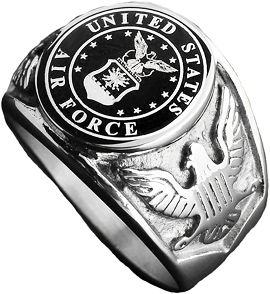 JAJAFOOK Vintage Titanium Steel US Military Air Force Ring Eagle Medal Rings for Men, Silver/Gold/Black