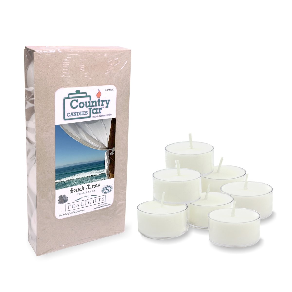Country Jar Beach Linen Soy Tea Lights (8-Pack) 100% US Grown Premium SuperSoy (Sale!)