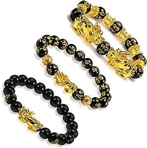 EnjoIt 3Pcs 12mm Hand Carved Mantra Stone Feng Shui Elastic Bracelet Pi Xiu Bracelet Black Obsidian Wealth Bracelet for Mens Womens C2242