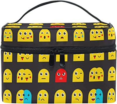 Conjunto de Bolsa de cosméticos Grande y Redonda de emoticones Estuche Organizador de Maquillaje de Viaje Emoji con asa: Amazon.es: Equipaje