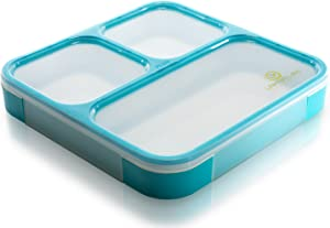 Bento Lunch Box by Lifemark Labs - Stylish Leakproof Lunch Kit with 3 Compartments - For Kids & Adults - Easy Portion Control - Container is Dishwasher & Microwave Friendly