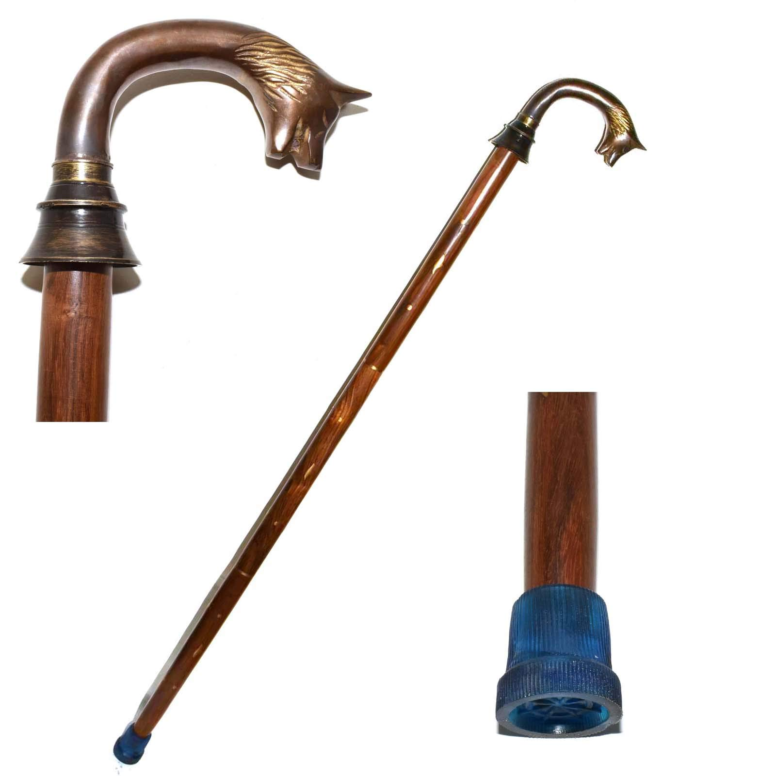WOLF HEAD Brass Handle Walking Stick Design Vintage Victorian Walking Stick Cane Christmas Gifts, Affordable Gift Decorative Walking Cane Fashion Statement for Men/Women/Seniors/Grandparents! Item New