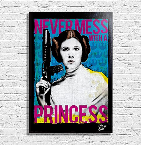Princess Leia Organa  Carrie Fisher  From Star Wars Movie     Pop Art Original Framed Fine Art Painting  Image On Canvas  Artwork  Movie Poster