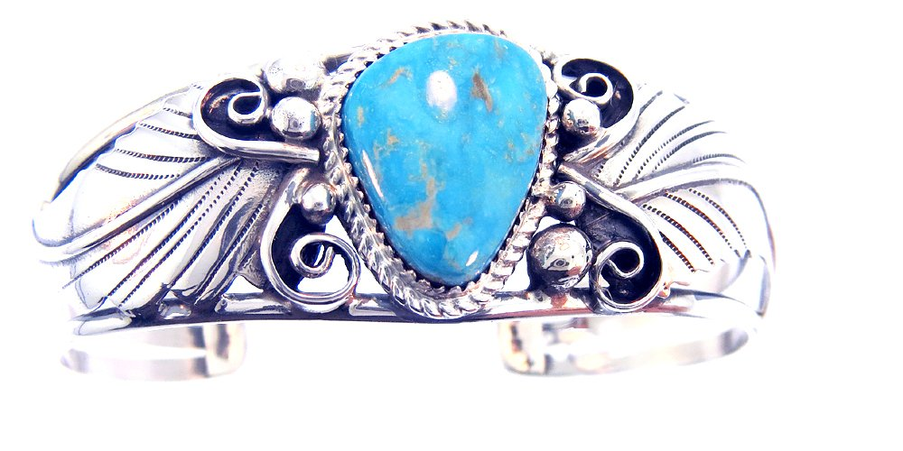By Navajo Artist Harry Spencer: Beautiful! Genuine Turquoise and Sterling-Silver Women's Bracelet.
