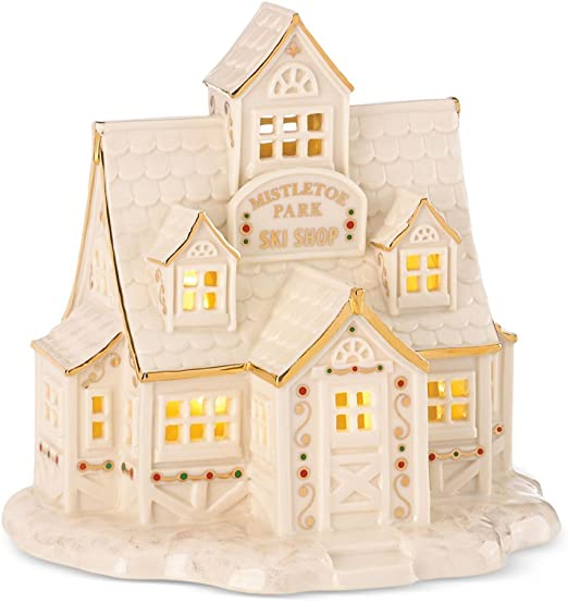 Lenox Porcelain Mistletoe Park Village Treasures Collection 6.5-in Lighted Ski Shop