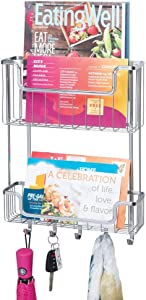 mDesign Wide Metal Wire Wall Mount Mail, Letter, Magazine Holder, Storage Organizer Key Rack with Hooks for Entryway, Hallway, Mudroom, 2-Tier - Chrome