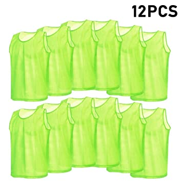12pcs Petos de Entrenamiento Malla Petos de Fútbol para Adultos (Color    Verde) 32c42435034