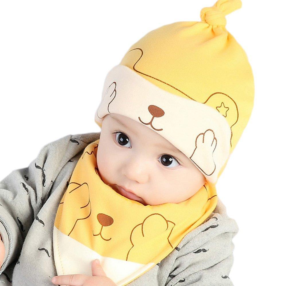 BIGBOBA bebé algodón sombrero gorra de dormir Cartoon Fox baberos recién nacido para 0–12meses Niños Niñas Verde, algodón, Amarillo, S algodón S
