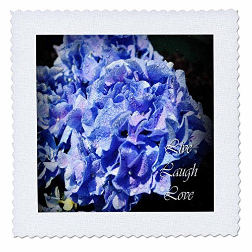 WhiteOak Photography Inspirational Floral Prints - Live Laugh Love Blue Hydrangeas with Rain Drops - 10x10 inch quilt square (qs_22506_1)