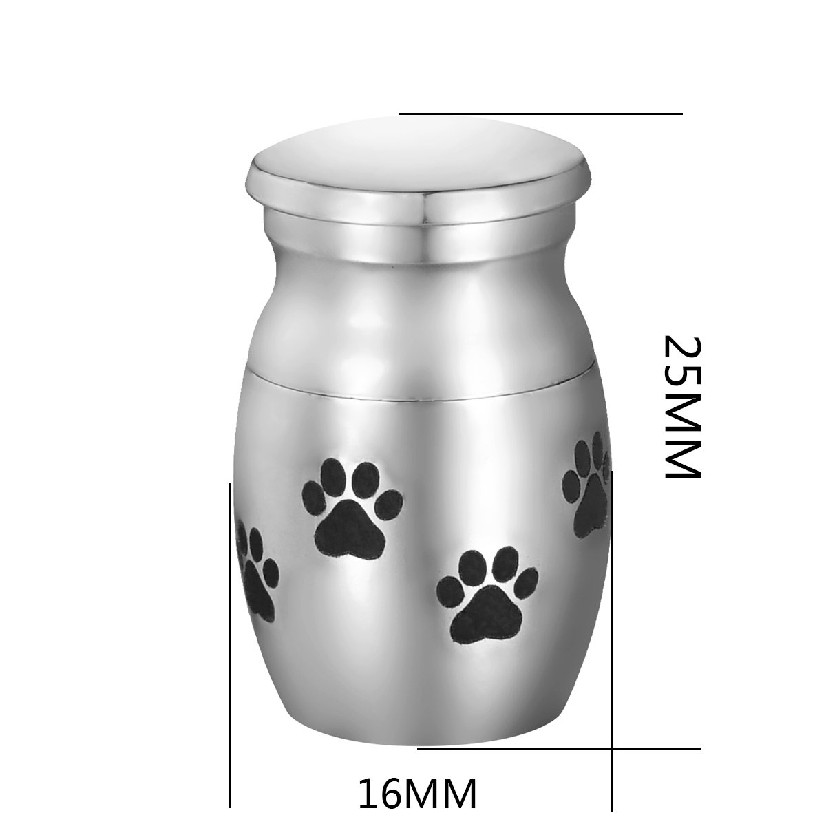 Tiny Small Cremation Urn For Human or Pet Ashes Waterproof Memory Funeral Keepsake Stainless Steel Pet Paw#2
