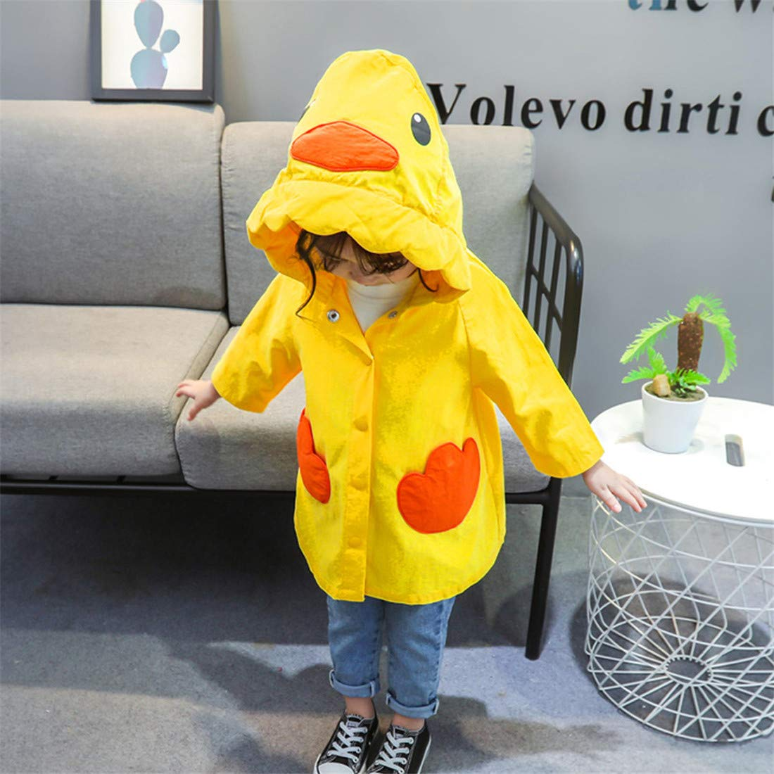 Toddler Kids Girls Boys Rain Jacket Coat Cartoon Duck Breathable Water-Resistant Casual Outwear Clothes