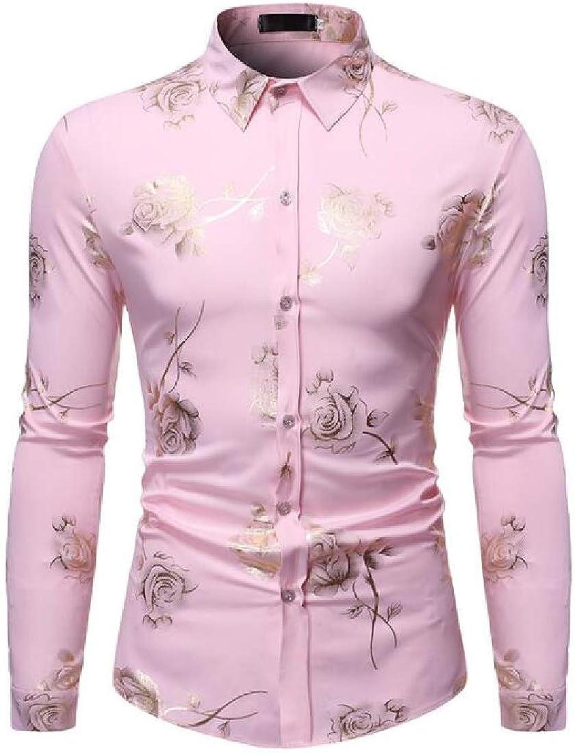 UUYUK Men Printed Long Sleeve Casual Slim Fit Business Button Up Dress Shirt