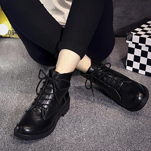erthome Womens Spring Casual Boots Fashion Med Heel Outdoor Lace-up Motorcycle Boots Cool Black OSPEJo