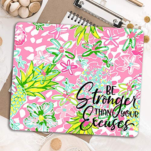Be stronger than your excuses Motivational quote Preppy pink lime green Desk decor mouse pad Office