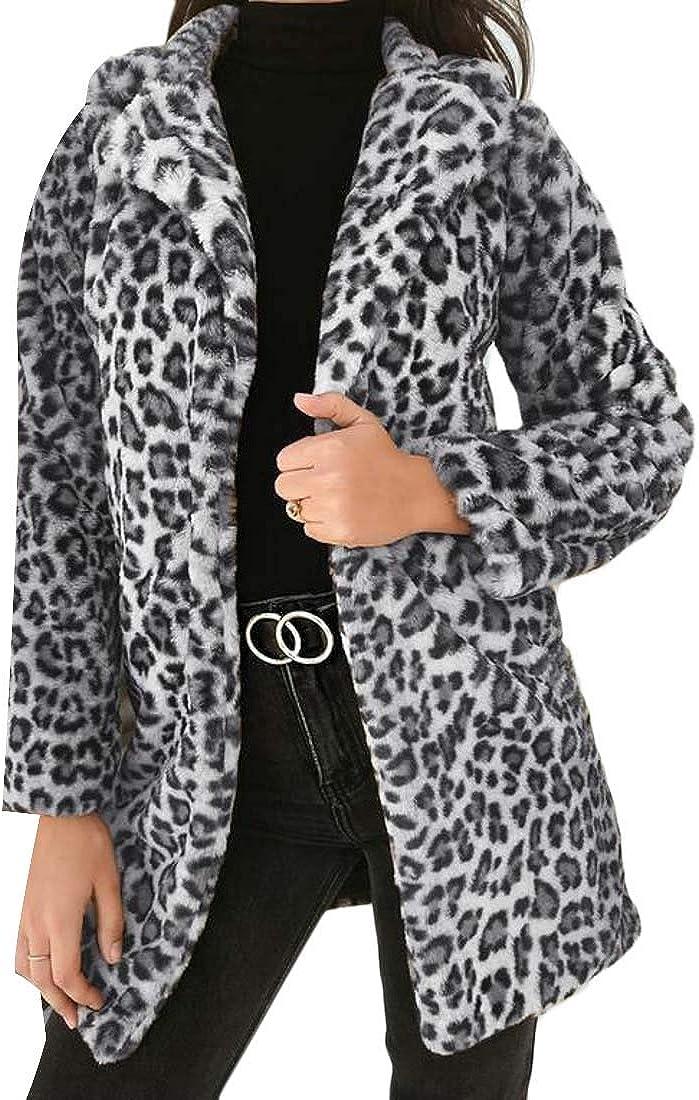 MOUTEN Womens Coats Jackets Faux Fur Fluffy Open Front Leopard Outdoor Coat Jacket
