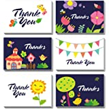 PACKQUEEN 48 Thank You Cards with Envelopes, Thank You Note Cards, Greeting Cards Assortment (Floral & Banner)