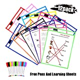 Dry Erase Pockets Sleeves,12 Pack Dry Erase Sheets +12 FREE Write Tools+ 6 Learning Sheets with Metal Eyelets and Clips,Reusable Plastic Dry Erase Board for Classroom Teaching Materials