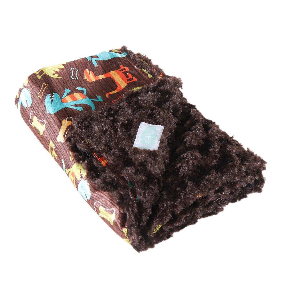 AllyZabba Dino Chocolate Small TravelZabba Baby Blanket 16 x 14 by AllyZabba   B00PV70EJ4