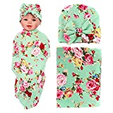 1 Pack Newborn Floral Swaddle BQUBO Receiving Blanket with Headbands Hats Sleepsack Toddler Warm