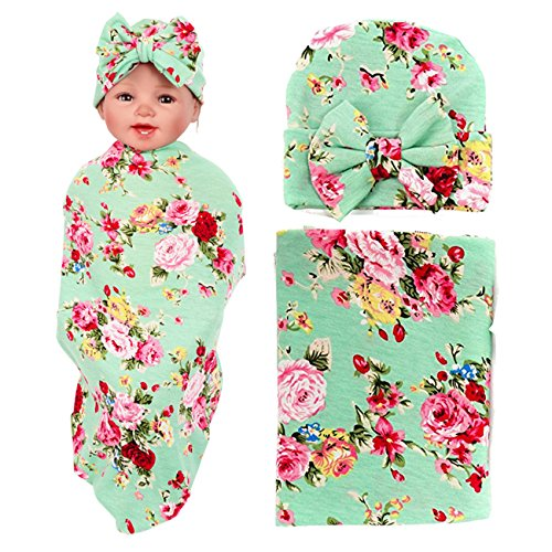 Nursery Shower Gift (Newborn Floral Swaddle BQUBO Receiving Blanket with Headbands Hats Sleepsack Toddler Warm Baby Shower Gift(Pack 1, 3) (Green with Hat))