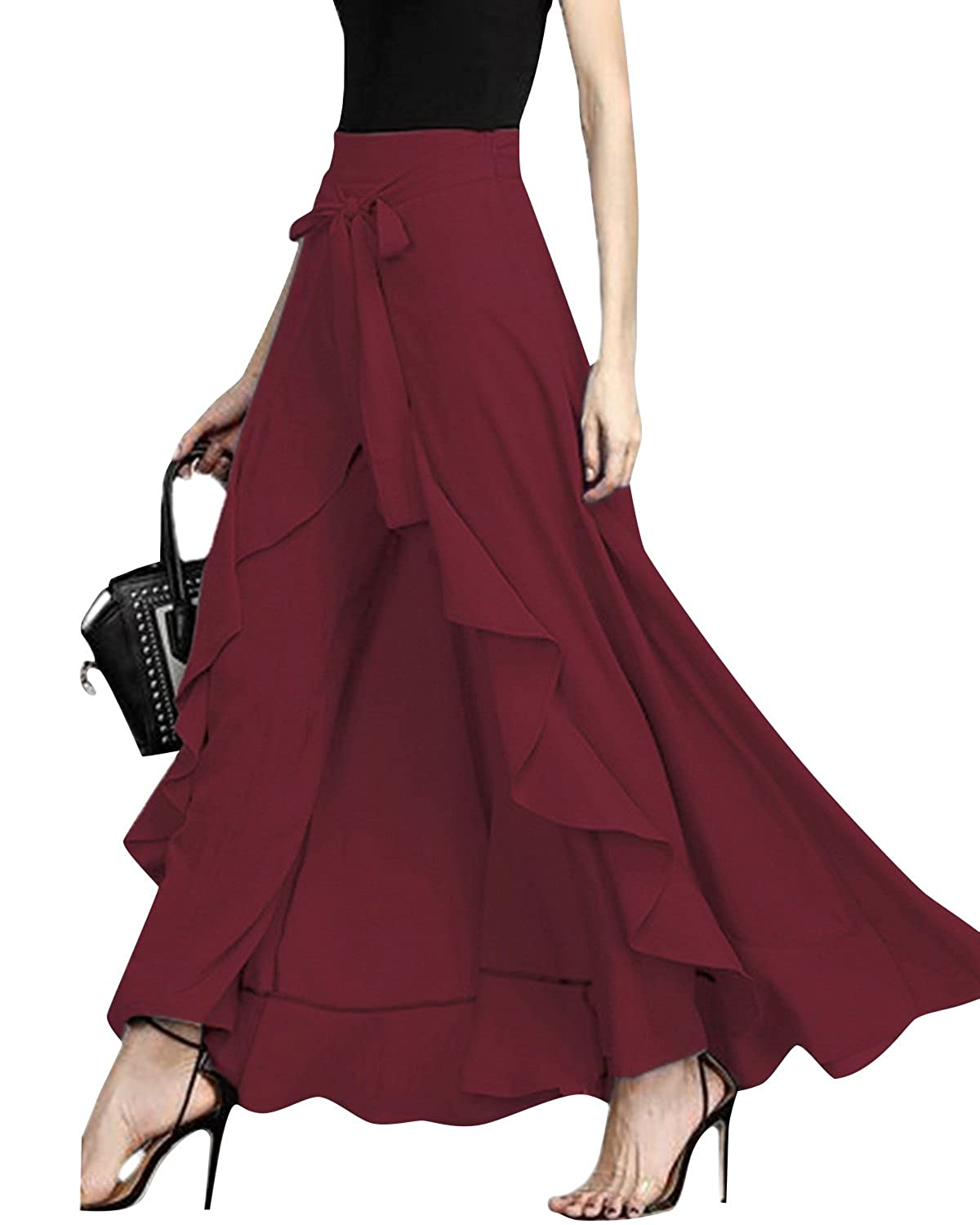 ff75a93475 Features : Long maxi skirts, Chiffon solid tie-waist ruffle dress skirt,  wide leg trousers, loose fitted pants. Occasion: Suit for cocktail Party,  Casual, ...