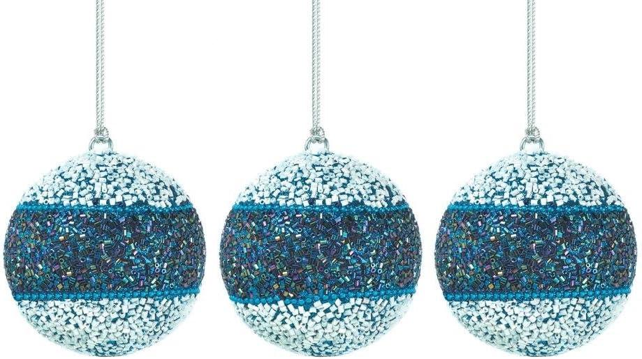 Amazon Com Christmas Collection 10017589 True Blue Beaded Ball Ornament Trio Multicolor Home Kitchen