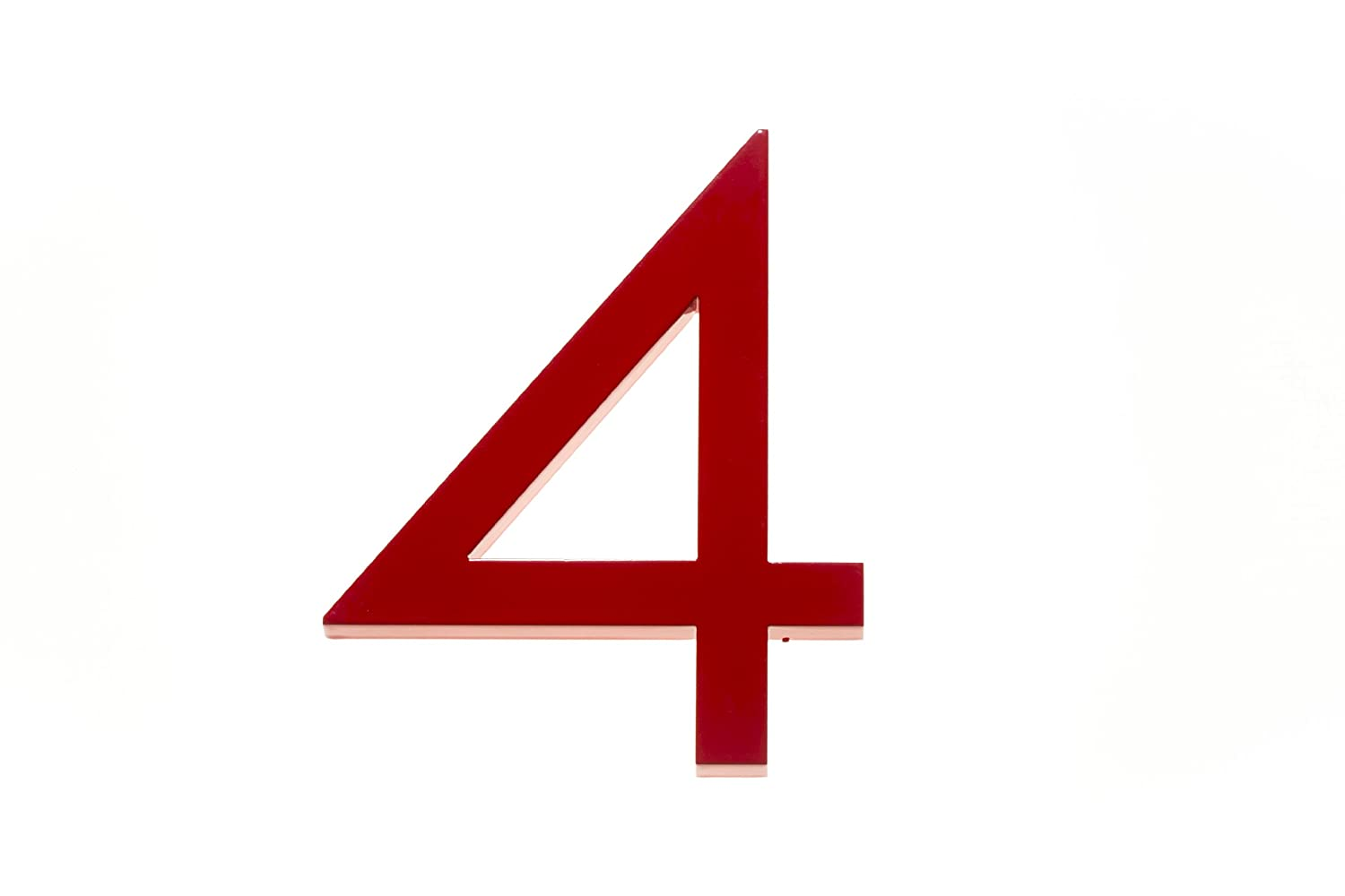 Amazon com modern house number red color aluminum modern font number four 4 6 inch address plaques garden outdoor