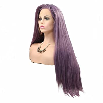 Amazon Natural Look Dark Purple Synthetic Lace Front Wigs