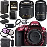 Nikon D5300 DSLR Camera with AF-P 18-55mm VR Lens (Red) 55-300mm f/4.5-5.6G ED VR Lens + EN-EL14 Replacement Lithium Ion Battery + External Rapid Charger + Carrying Case Bundle