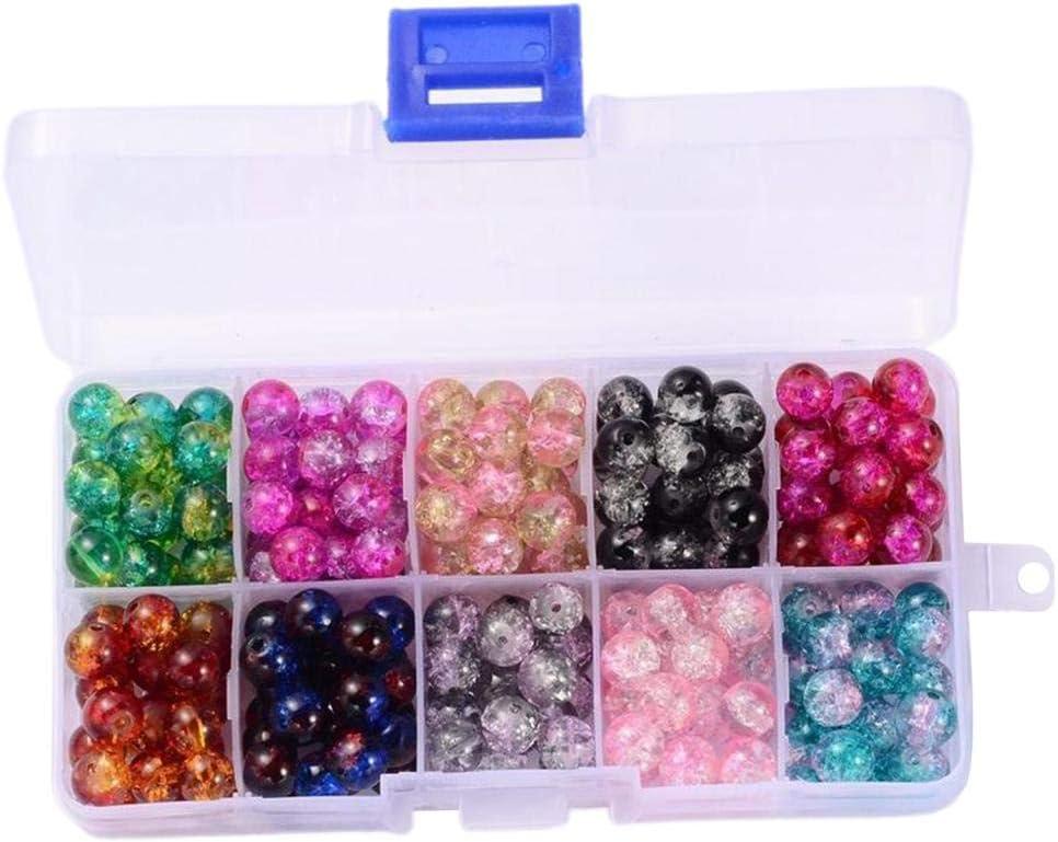 F Fityle 200 Cuentas Redondas de Cristal de Murano para Hacer Joyas Pulseras Collares con Caja de plástico 10 Colores Surtidos