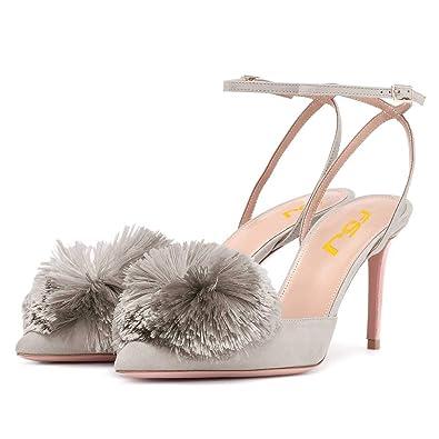 3595ef348181 FSJ Women Fashion Ankle Strap Pumps Pointed Toe Mid Stiletto Heels Sandals  Pom-Pom Shoes