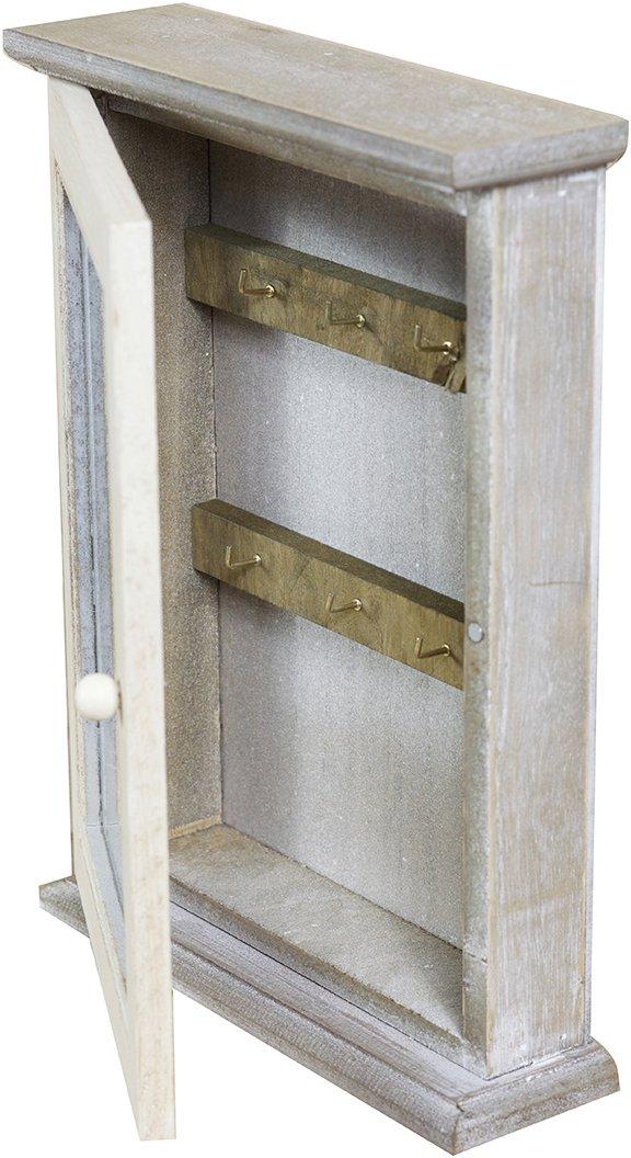 Vetrinetta Portachiavi in Legno di paulonia L20xPR6xH27,5 cm Finitura Bianco e Grigio Sbiancato