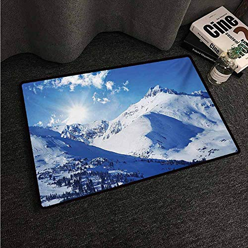 HCCJLCKS Thin Door mat Winter Mountain Peaks in Sunny Winter West Northern of States Tranquil Habitat Hike Image Easy to Clean Carpet W35 xL47 White Blue