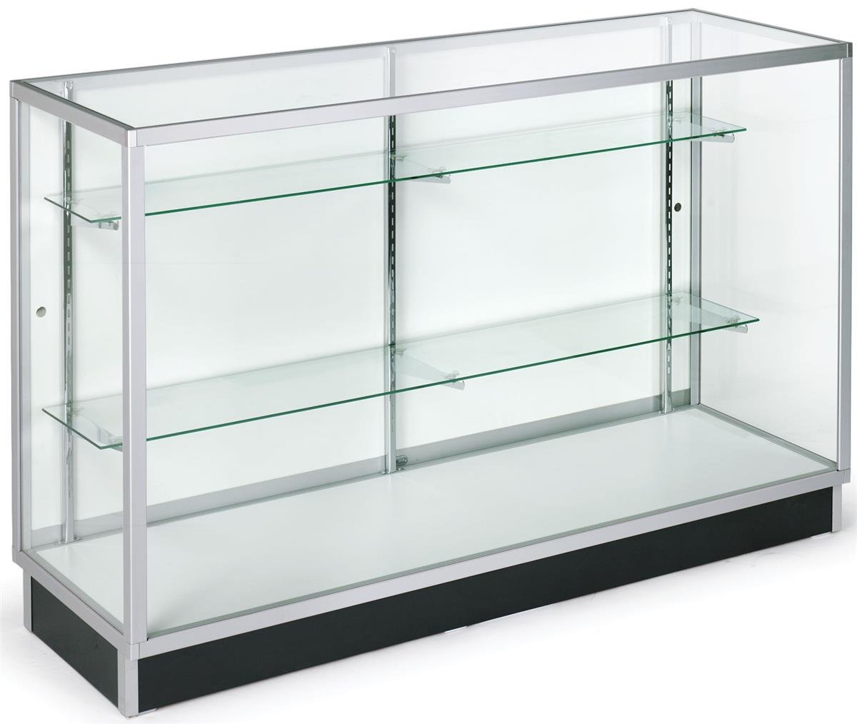 Free-Standing Glass Display Cabinet, 60 x 38 x 20-Inch, Tempered Glass and Aluminum Clear-Coat Frame, for Retail Use