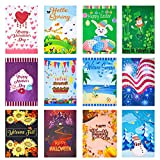 CANCLO Seasonal Garden Flag Set of 12 - Festive Flags for Lawn & Yard Decor - 12x18 Inch -Double Sided - Small Outdoor Flags - St Patricks Day, Spring, Easter, Mothers Day, Summer, Holidays