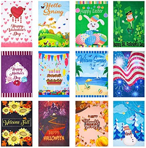 Canclo Seasonal Garden Flag Set Of 12 Festive Flags For Lawn Yard Decor 12x18 Inch Double Sided Small Outdoor Flags St Patricks Day Spring Easter Mothers Day Summer Birthday Holidays Garden Outdoor Amazon Com