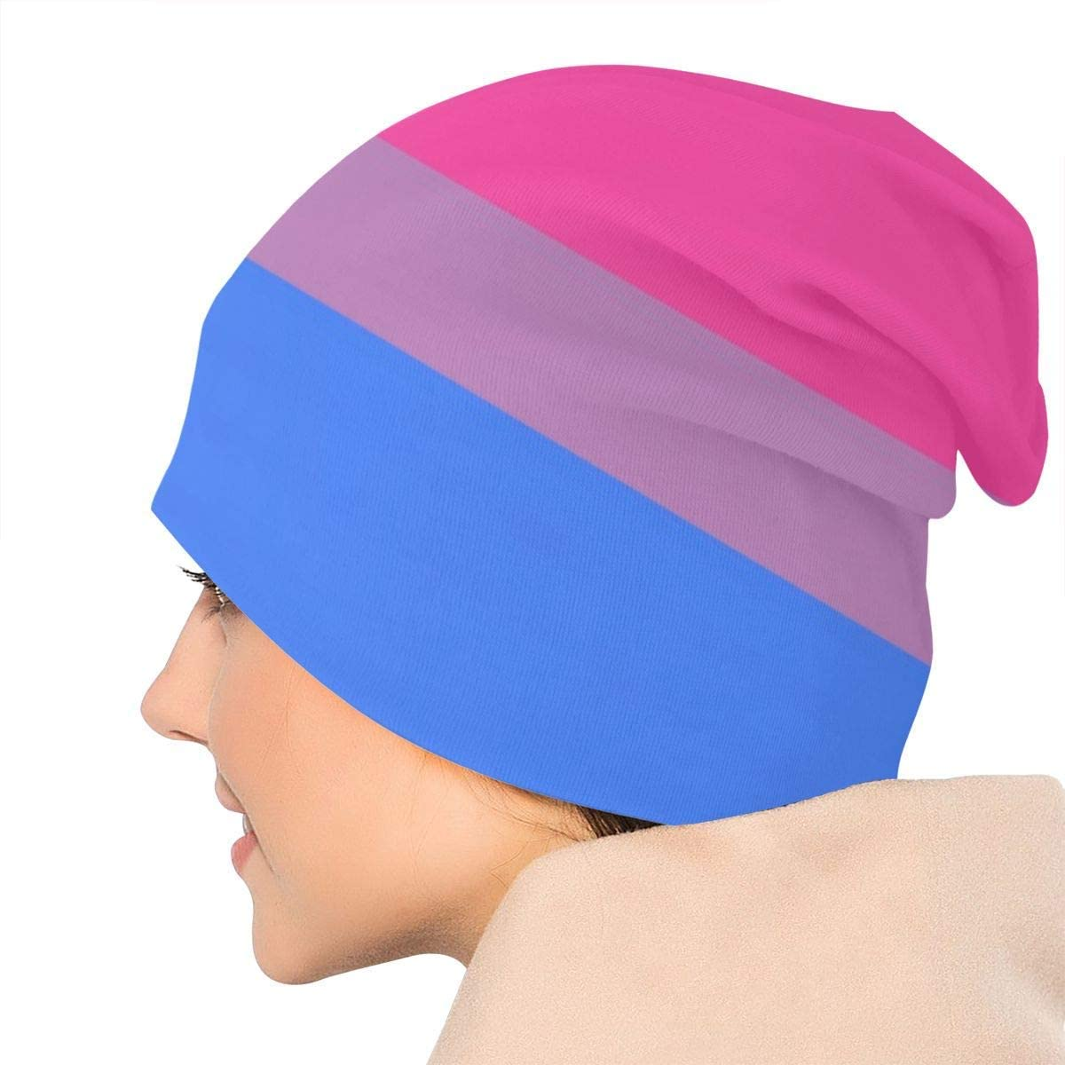 lmf379581 Bisexual Pride Color Unisex Adult Head Beanie Hat Lightweight Baggy Slouchy Elastic Turban Confinement Cap Headwraps White