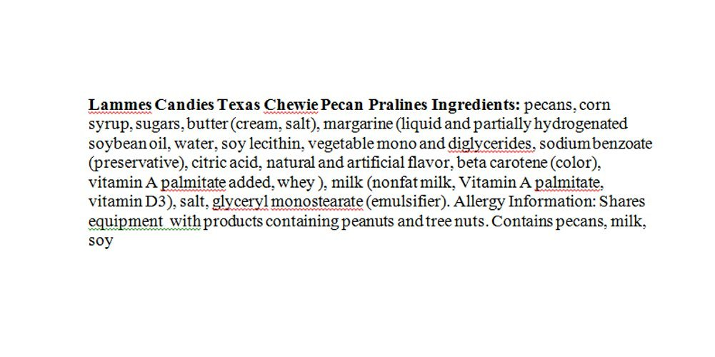 Lammes Texas Chewie Pecan Praline Candy 24 Piece Box - Enjoy Texas Pecans Combined With Chewy Pralines For A Gourmet Treat! by Lammes Candies