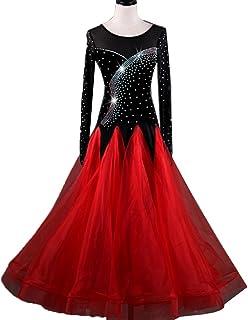 Robes de Danse de Salon Déguisement de Performance pour Femme Robes de Compétition Engrener Manches Longues Valse Moderne Robe Haute Naturelle avec Strass Rongg