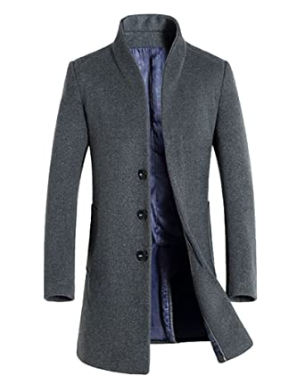 MorryOddy Men's Wool French Front Long Pea Coat at Amazon Men's ...