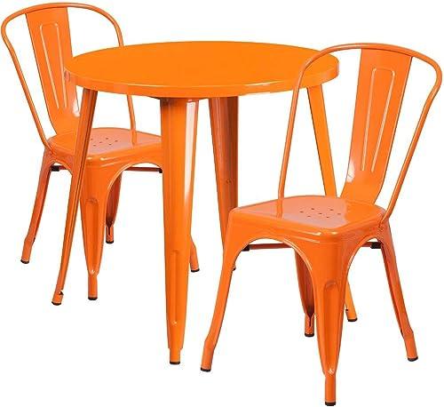 Flash Furniture Commercial Grade 30″ Round Orange Metal Indoor-Outdoor Table Set
