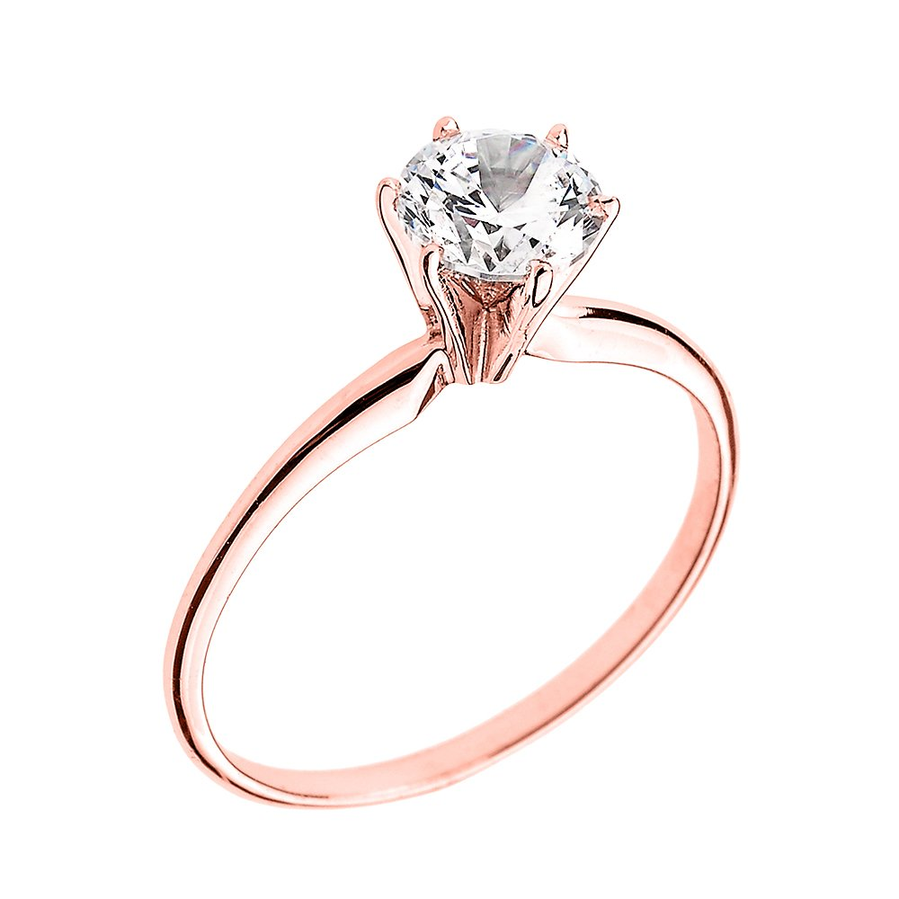 14k Rose Gold Elegant Cubic Zirconia Solitaire Engagement Ring(Size 6)