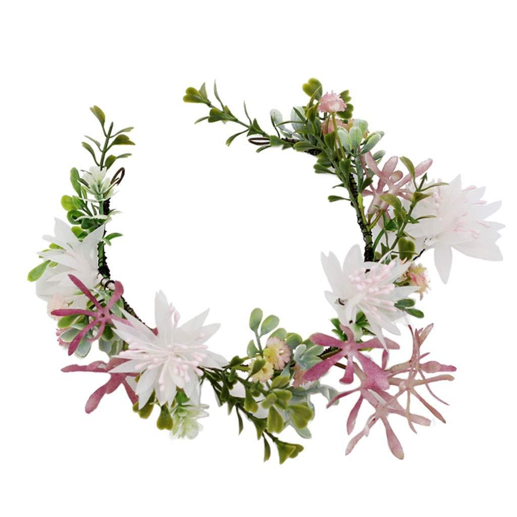 Wreath Flower Headband Crown Bride Headdress Wedding Dinner Girl Hair Accessories (Size : 33cm)