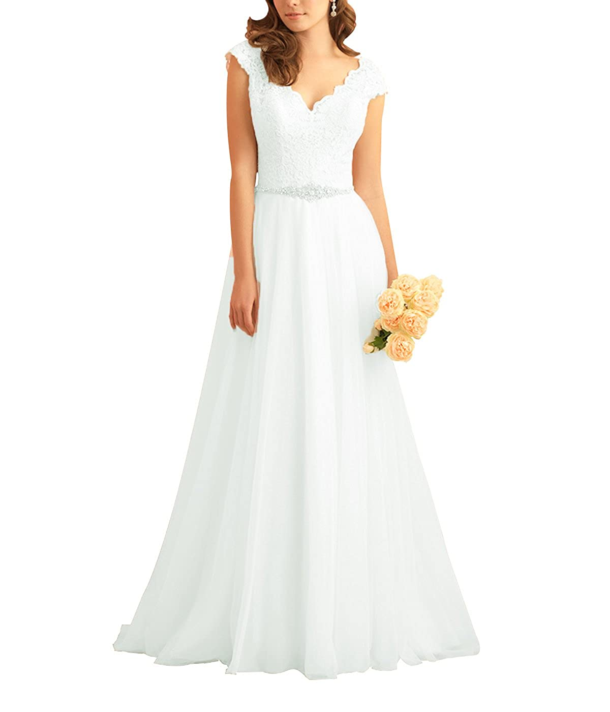 Womens V Neck Cap Sleeve Lace Wedding Dresses Backless Chiffon