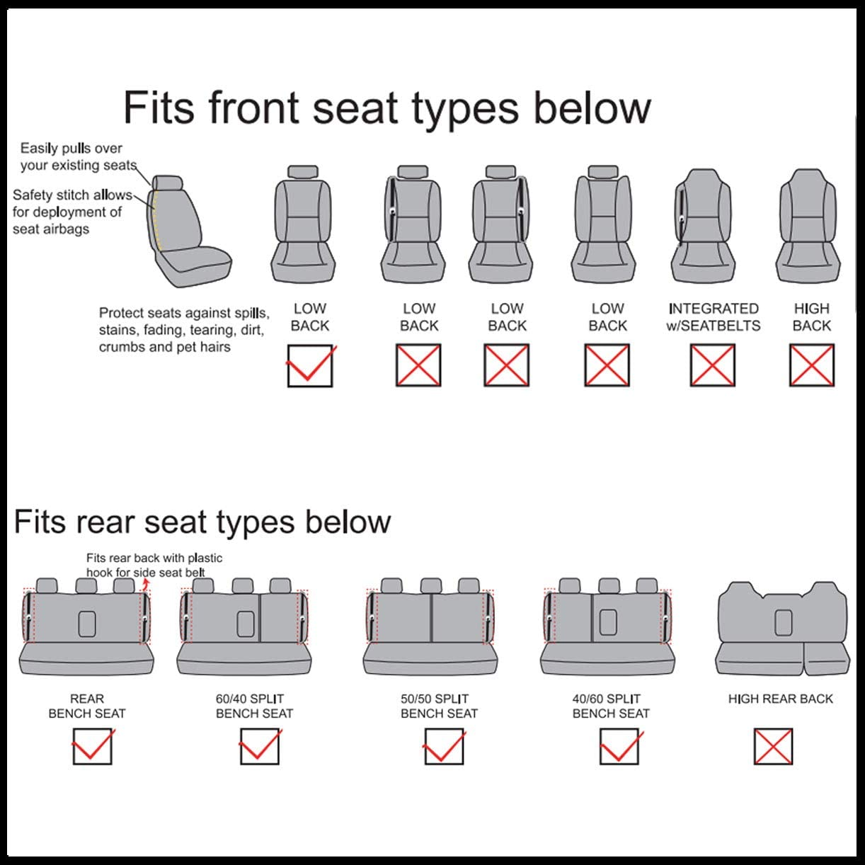 Universal fit most Car,Truck,SUV and Van Flying Banner 11 PCS Car Seat Covers Full Set Polyester Fabric Green and Black 011-Style Breathable Composite Sponge Inside Airbag Compatible