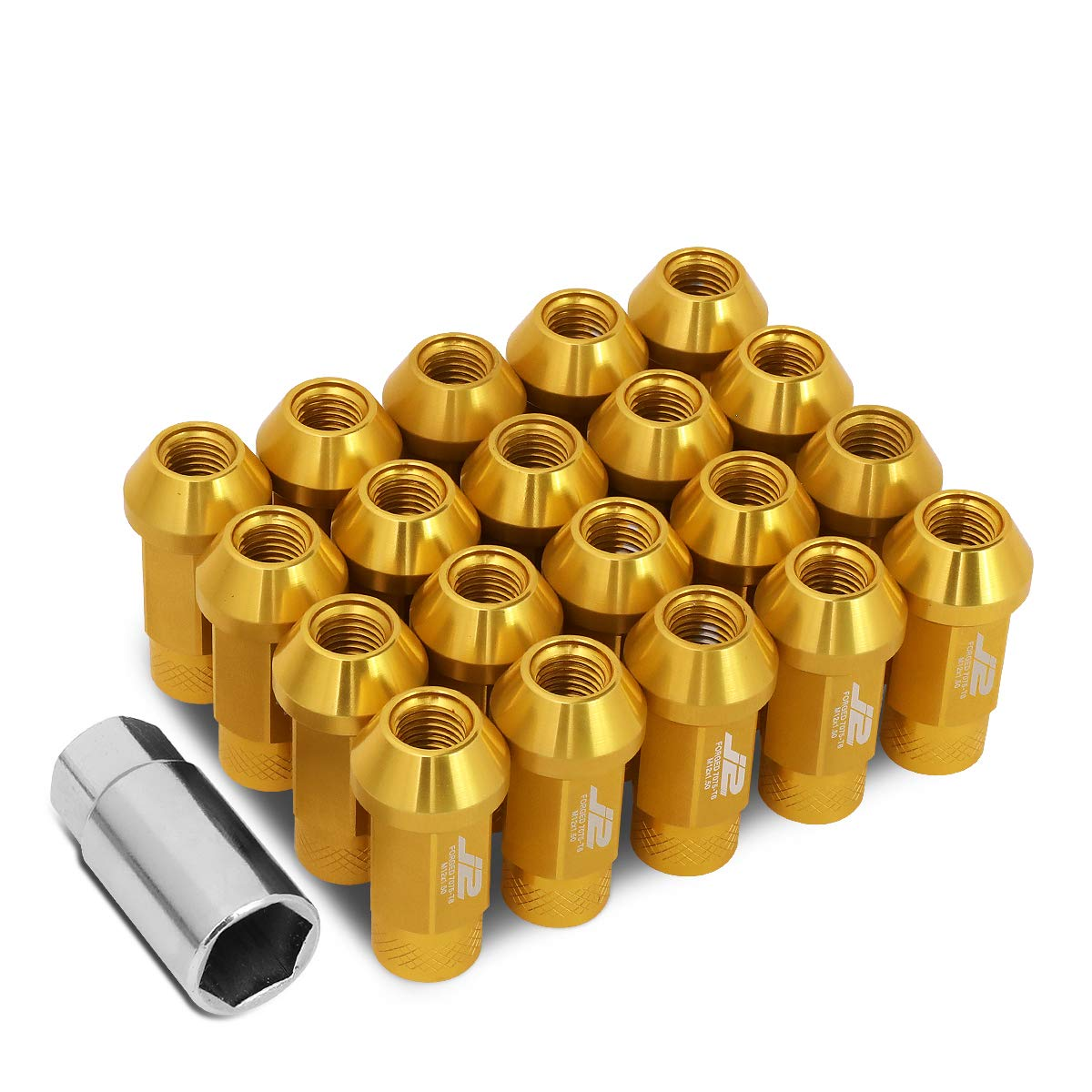 20PCS 50MM RED ALUMINUM 25MM OD M12X1.5 CONICAL OPEN-END LUG NUTS+ADAPTER